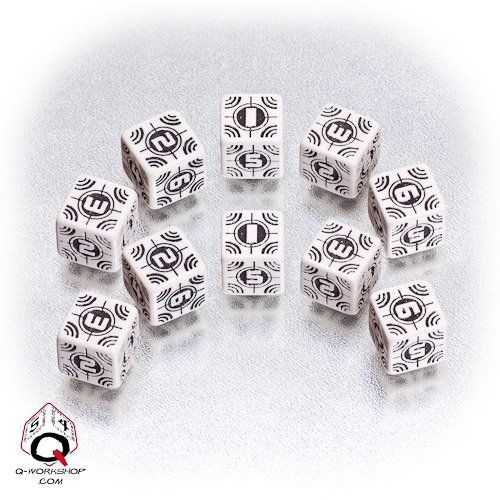 Battle Dice Set Sniper (white/black) (Würfelset 10 x W6)