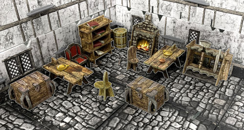 Tabletop Terrain Fantasy Village Furniture (52 pcs) EN